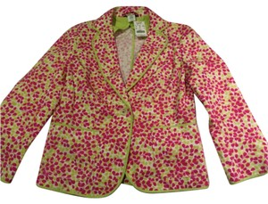J.Crew Blue Cotton Navy & White Floral print with hot pink lining Blazer