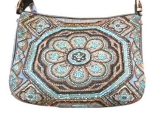 Preload https://img-static.tradesy.com/item/8075/isabella-fiore-beaded-blues-and-black-leather-shoulder-bag-0-0-540-540.jpg