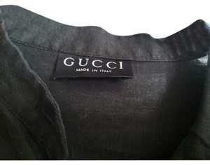 Gucci Linen Button Down Shirt Black