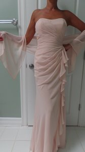 Mori Lee Blush Chiffon 703 Feminine Bridesmaid/Mob Dress Size 6 (S)