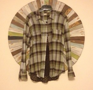 Free People Button Down Shirt Green Multi
