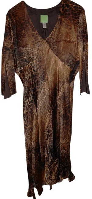 Citrine by the Stones Animal Print Vintage Asymmetrical Lined Mid-length Night Out Dress Size 14 (L) Citrine by the Stones Animal Print Vintage Asymmetrical Lined Mid-length Night Out Dress Size 14 (L) Image 1