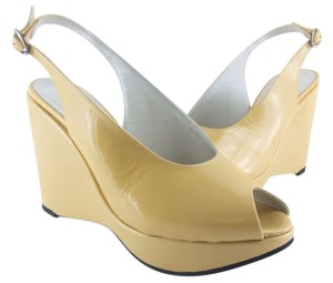 Robert Clergerie Mustard Patent Leather Wedges
