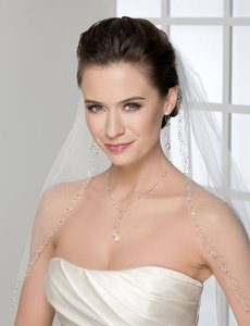 Bel Aire Bridal Ivory Fingertip-length Veil With Swarovski Crystal & Rhinestone Beading
