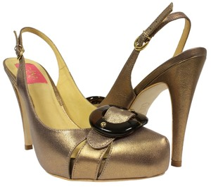 MS Shoe Designs Metallic Gold Pumps