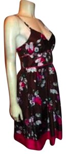Guess short dress FUSCIA PINK BROWN 100% Silk P247 Size 5 on Tradesy