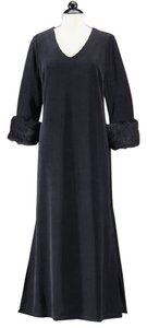 Black Maxi Dress by Kacktus Fuax Mink Faux Fur