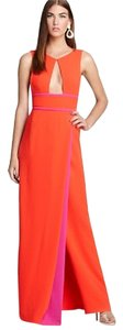BCBGMAXAZRIA Bcbg Orange Long Cutout Floor Lengthed Dress