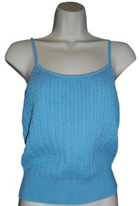 Ralph Lauren Ribbed Binding Ribbed Hem Light Blue Halter Top