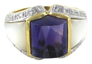bella 18KT SOLID YELLOW GOLD KARAT RING DESIGNER BELLA BAND AMETHYST 24 DIAMOND 7.4 G