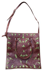 Leaders in Leather Western Whipstitched Cowgirl Oversized Inlay Tote in Moss and Mahogany