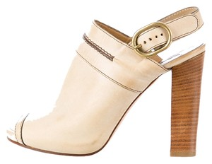 Chloé Chloe Bootie Mule Leather Slingback Tan Sandals