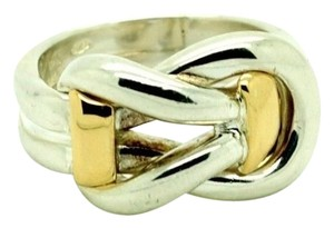 Sterling Silver 14K Yellow Gold Ring Two Tone, Size 9.00