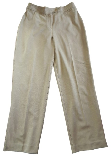 Studio Works Petite Dressy Poly/Rayon Straight Pants Tan