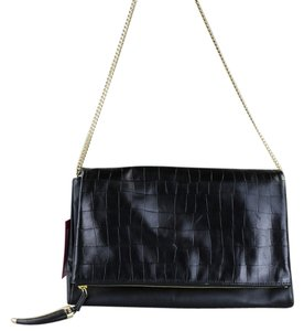 Vince Camuto Leather Chain Black Clutch