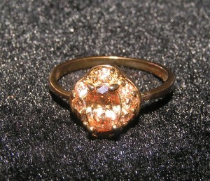 Vintage Style Champagne Topaz Engagement Ring Free Shipping