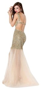 Jovani Gold Nude Sequin Sheer Bottom Dress