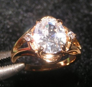 Big White Topaz Engagement Promise Ring Free Shipping