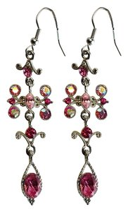 Other Pink Crystal Chandelier Earrings by J. Dew [ Roxanne Anjou Closet ]
