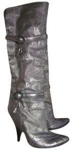 Just Cavalli Distressed Charms Logo Buckles Gray Boots