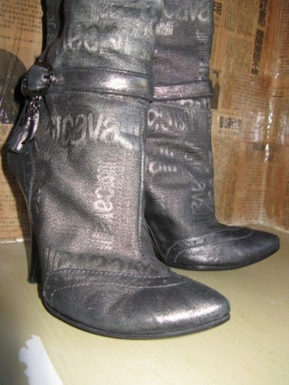 Just Cavalli Distressed Charms Logo Buckles Gray Boots Image 1