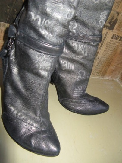 Just Cavalli Distressed Charms Logo Buckles Gray Boots Image 2