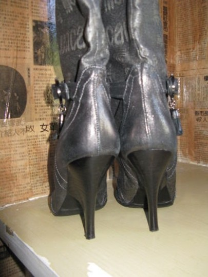 Just Cavalli Distressed Charms Logo Buckles Gray Boots Image 5