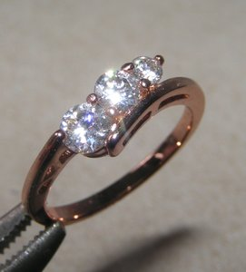 3 Stone White Sapphire Promise/engagement Ring Free Shipping