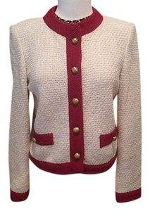 Castleberry Tweed Boucle Jacket Suit London New York Chanel St.john Elegant Cream/Red Blazer
