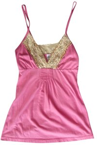 Boutique Sleeveless Lace Lace Trim Top Pink