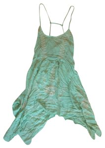 Free People short dress Sea foam Slip Teal Embroidered on Tradesy
