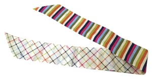 Coach Coach Peyton Tattersall Multicolor Striped Silk Ponytail Scarf