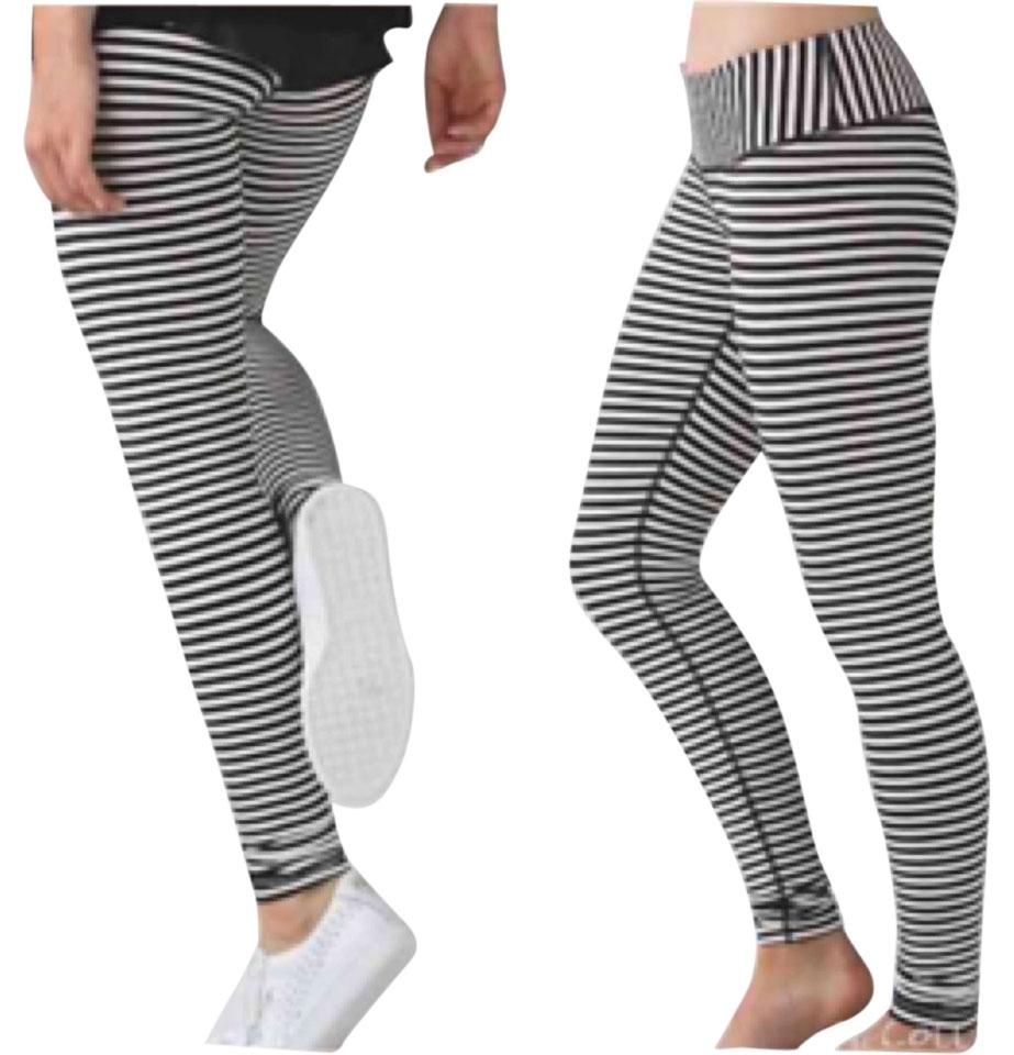 3f1e9f30be Lululemon Black and White Stripes New with Tags Parallel Wunder Under  Activewear Bottoms
