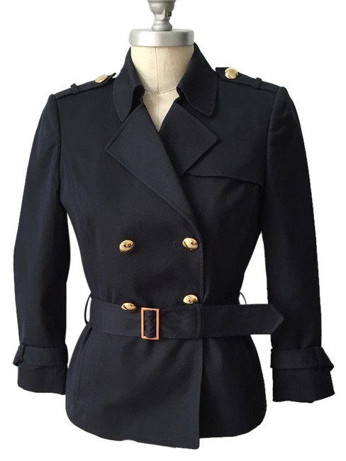 Antonio Melani Classic Longsleeve Gold Hardware Double-breasted Trench Navy Jacket - 73% Off Retail chic