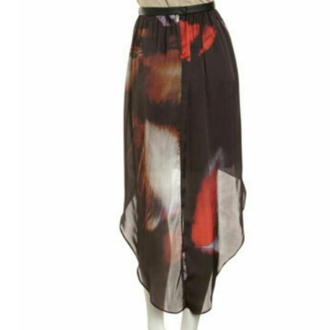 Yigal Azrouël Hi Lo Leather Silk Print Maxi Skirt Black Multi