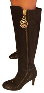 Juicy Couture Leather Gold Hardware Round Toe Black Boots