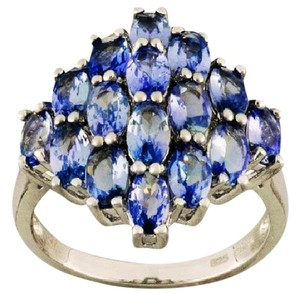 Tanzanite Genuine Tanzanite Sterling Silver Cluster Ring, 3.75cts