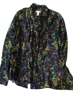 J.Crew Silk Chiffon Button Down Floral Neck Tie Top Blue/Green/Multi