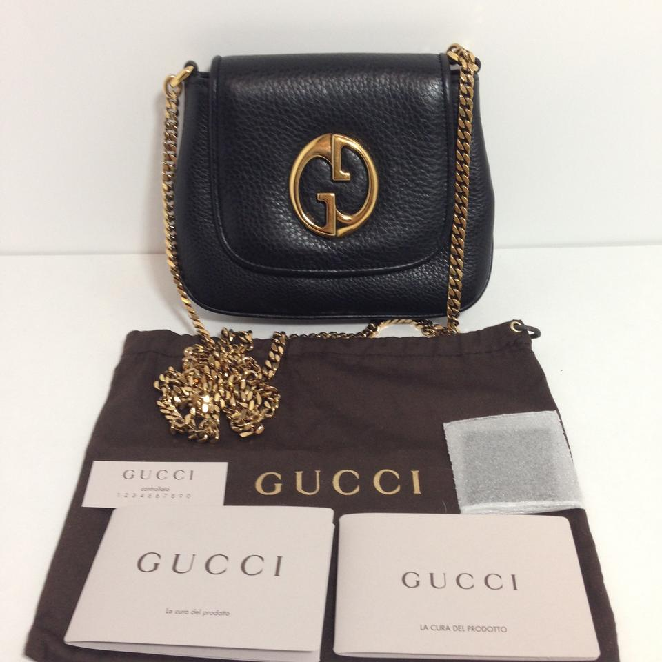 4060874c2a2 Gucci 1973 Chain Shoulder Mini Black Leather Cross Body Bag - Tradesy