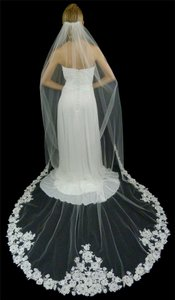 White Cathedral Wedding Veil With Beaded Alencon Lace