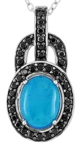 Other Paraiba Blue Ethiopian Opal and Black Spinel Sterling Silver Pendant With Chain, 1.65cts