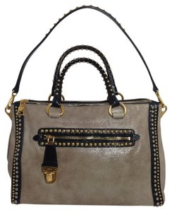 Prada Studded Handbag Satchel in Beige Multicolor