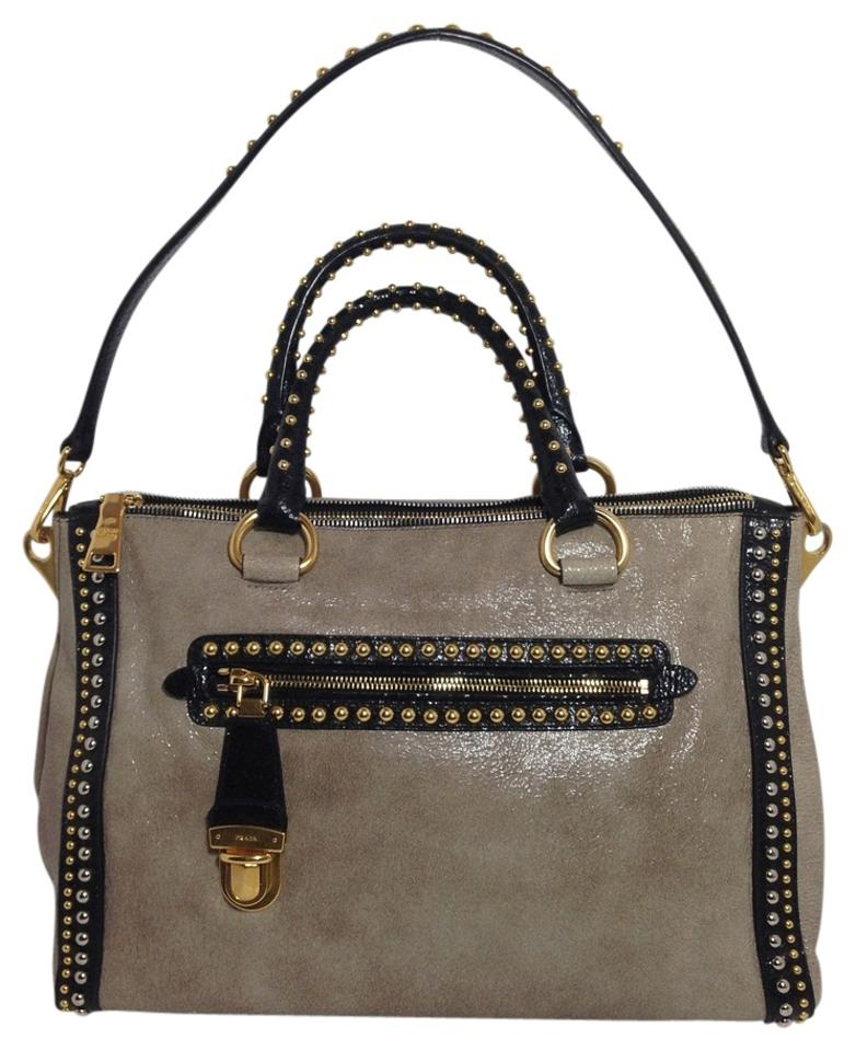 de3c3278508a Prada Glacesatchel Studded Handbag Satchel in Beige Multicolor Image 0 ...