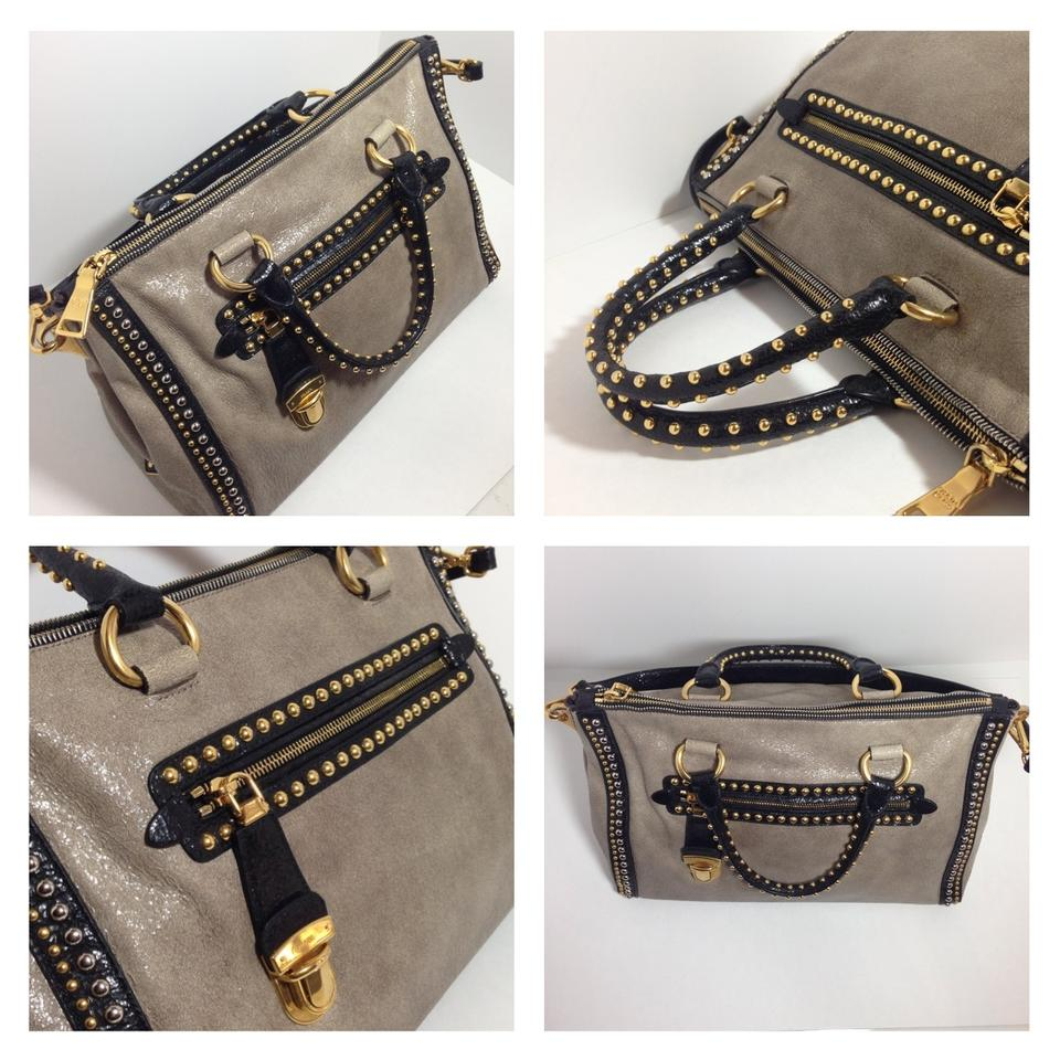 5c9bfc2eb38a Prada Glace Studded Rare Beige Multicolor Leather Satchel - Tradesy