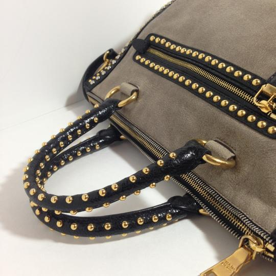 Prada Glacesatchel Studded Handbag Satchel in Beige Multicolor