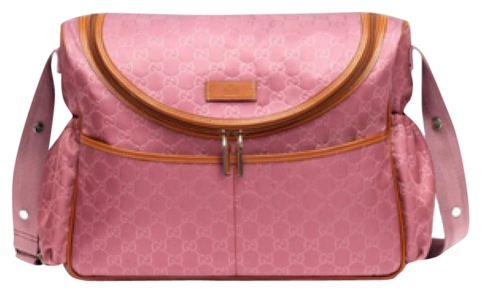 51840486d6ed Gucci Baby girl diaper bag, Gg pink nylon and leather new with tags ...