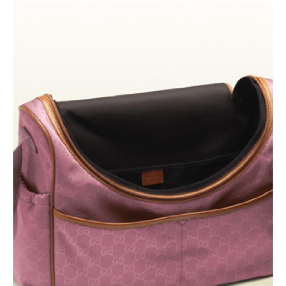 8109b7ad1910 Gucci Girl Gg Nylon And Leather New With Pink Diaper Bag Image 7. 12345678