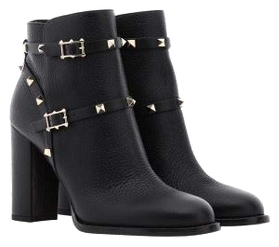 Valentino Black Print Calfskin Print Black Leather Ankle Boots/Booties a02803