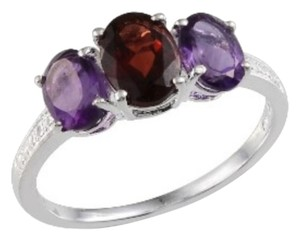Other Genuine Mozambique Garnet and Amethyst Sterling Silver Ring, 3.10cts