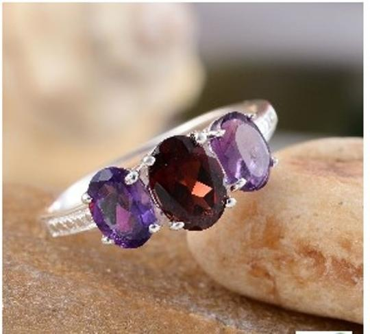Other Genuine Mozambique Garnet and Amethyst Sterling Silver Ring, 3.10cts Image 1